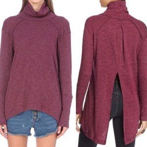 We The Free Split Back Turtleneck Ribbed Sweater